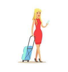 Beautiful blond girl in a red dress traveling with vector