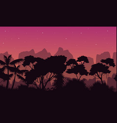 Beauty scene rain forest with mountain silhouette vector