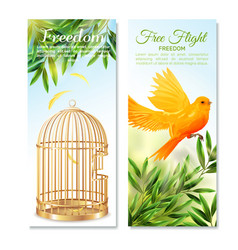 Canary in free flight vertical banners vector