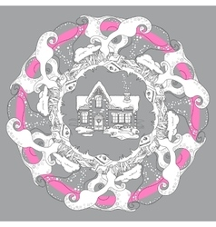 Christmas house mandala on grey background vector