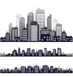 city silhouette isolated on white vector image