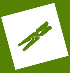Clothes peg sign white icon obtained as a vector