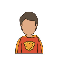 Colorful caricature faceless half body super hero vector