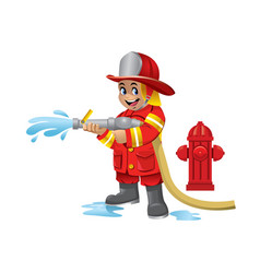 Cute cartoon kid of firefighter vector