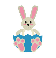 Easter bunny with broken egg vector