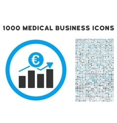 Euro Business Chart Icon with 1000 Medical vector image vector image