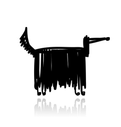 Funny black dog for your design vector
