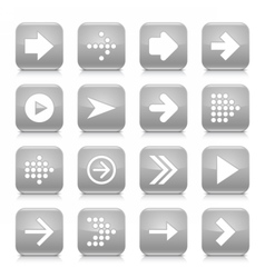 Gray arrow sign rounded square icon web button vector image