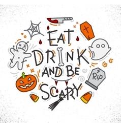 Halloween poster flat vector