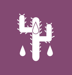 Icon cactus and droplets vector