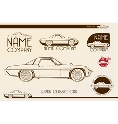 Japan classic sports car silhouettes vector image vector image