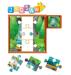 Jigsaw puzzle game with boy driving vector