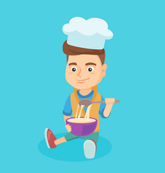 little caucasian boy in chef hat making the dough vector image