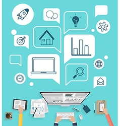 Modern creative office workspace for business vector image vector image