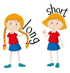 Opposite adjectives long and short vector