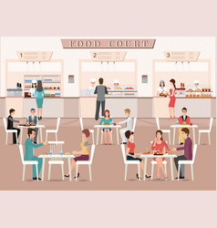 People eating in a food court in a shopping mall vector