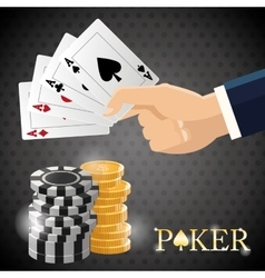 Poker design cards and chips concept casino vector image vector image