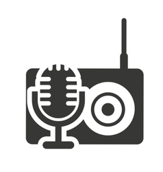 Radio retro silhouette isolated icon vector