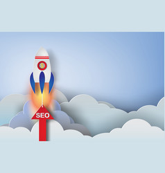 rocket start up concept ideapaper art vector image