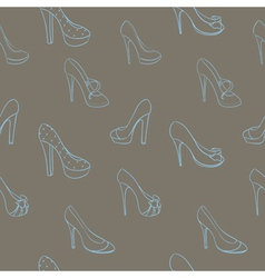 Seamless background with shoes in sketch style vector image vector image