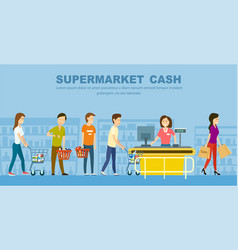 supermarket store counter desk banner vector image vector image