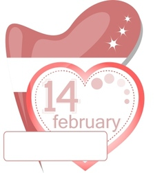 Valentine calendar icon Love heart invitation card vector image