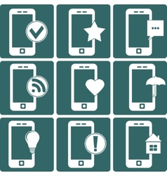 Whites Phone with Different Signs vector image vector image
