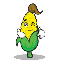 Wink face sweet corn character cartoon vector