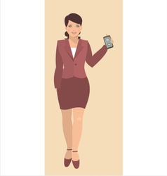 young woman holding a mobile phone 380 vector image