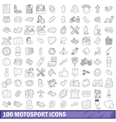 100 motosport icons set outline style vector image vector image