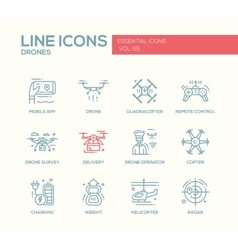 Drones - line design icons set vector image