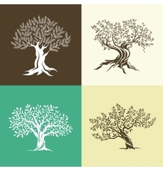 Olive trees silhouette isolated icon set vector image