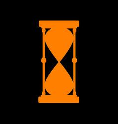 Hourglass sign orange icon on black vector