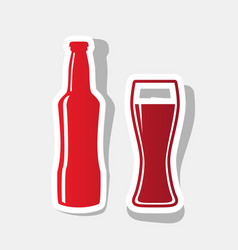 Beer bottle sign  new year reddish icon vector