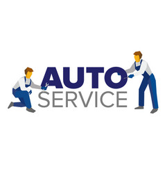 logo template for autoservice or car repair vector image