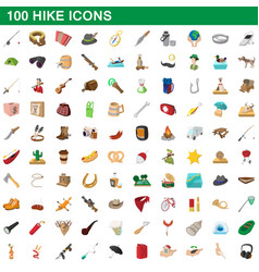 100 hike icons set cartoon style vector