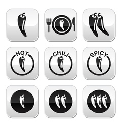 Chili peppers hot and spicy food buttons set vector