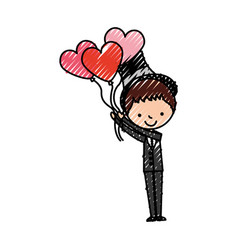 Cute husband with heart shaped pumps avatar vector