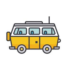 minivan travel family car flat line vector image