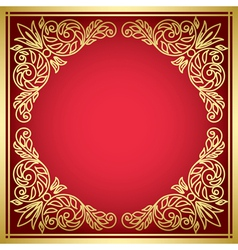 Decorative red card with golden frame vector