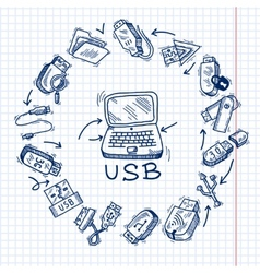 Usb and computer vector