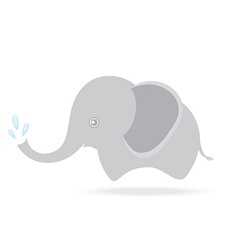 Cute elephant spraying water cartoon drawing vector