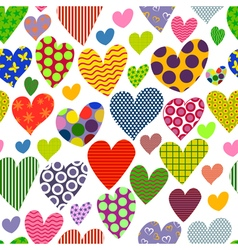 Bright colored hearts seamless pattern vector