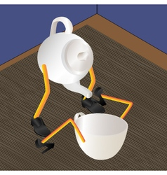 Teapot and cup on a table vector