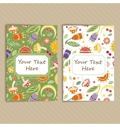 Set of cards with floral pattern vector