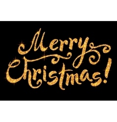 Merry christmas golden glitter sign vector