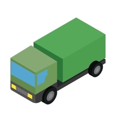 Military truck isometric 3d icon vector
