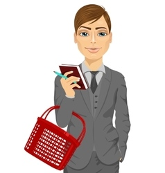 Business man holding an empty shopping basket vector