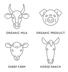 Farm animals logo collection vector