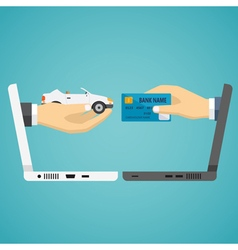 Human hands exchanging credit card and car vector